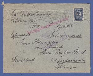 Kriegsgefangenensendung aus Russland 1915 gelaufen nach Sondershausen