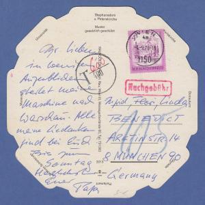 Österreich 1975 Freimarke 4 ÖS auf übergr.  Postkarte aus Wien, nachtaxiert