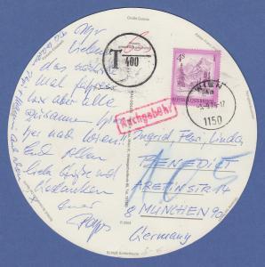 Österreich 1975 Freimarke 4 S auf übergr. runder Postkarte aus Wien nachtaxiert
