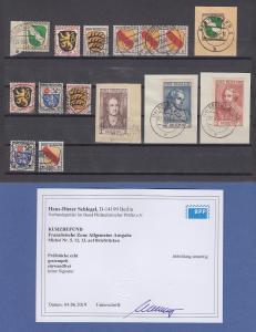 Französische Zone Wappen / Dichter Mi.-Nr. 1-13 kpl. Satz echt O Befund Schlegel