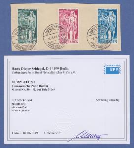 Französische Zone Baden Carl Schurz Mi.-Nr. 50-52 kpl. Satz O Befund Schlegel