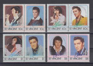 St. Vincent 1985 zum 50. Geb. von Elvis Presley Satz 8 Werte (4 Paare) **