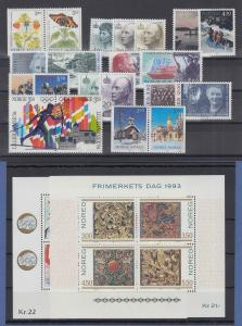 Norwegen Briefmarken-Jahrgang 1993 komplett postfrisch ** / MNH