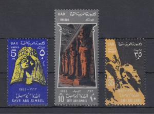 Ägypten / Egypt 1963 Sandstein-Skulpturen Abu Simbel Mi.-Nr. 704-06 Satz 3 W. **