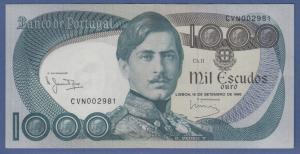 Banknote Portugal 1000 Escudos 1980 Dom Pedro V. , Eisenbahn kfr.