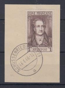 Französische Zone allg. Ausgabe 1 Mark Goethe Mi.-Nr. 11 mit O SCHUSSENRIED