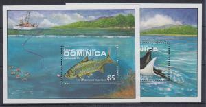 Dominica Mi.-Nr. Block 143-144 postfrisch ** / MNH Manta - und Tarponfang