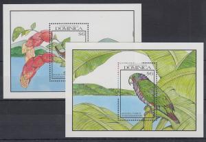 Dominica Mi.-Nr. Block 168-69 postfrisch ** / MNH Papageien