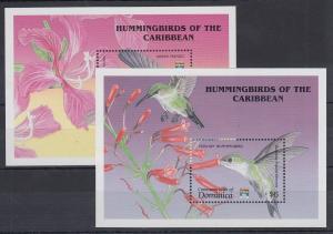 Dominica Mi.-Nr. Block 210-211 postfrisch ** / MNH Kolibri
