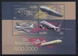 Malta 2000 Mi.-Nr. Block 19 postfrisch ** / MNH Flugzeuge, Zeppelin