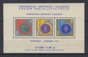 Polen / Polska 1961 Konferenz der Postminister Mi.-Nr. Block 24 **