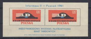 Polen / Polska 1961 Int. Briefmarkenausst. Intermess II Mi.-Nr. Block 25 **