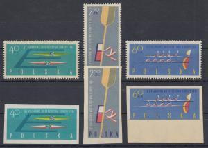 Polen / Polska 1961 Kanu-Europameisterschaften Mi.-Nr. 1254-56 A & B **