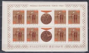 Polen 1965 Olymp. Medaillen Tokio Kleinbogensatz (8 Klb.) Mi.-Nr. 1623-30 **