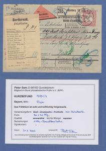 Bayern Wappen 1 Mark Mi.-Nr. 53y als EF auch Nachnahme-Paketkarte in die Schweiz