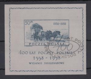 Polen / Polska 1958 Polnische Post Postkutsche Mi.-Nr. Block 22 mit Sonder-O