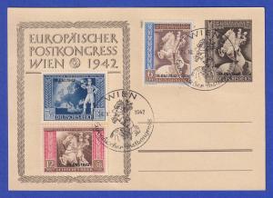 Dt. Reich Postkongress-Übereinkunft Mi.-Nr. 823-25 auf Karte mit So.-O WIEN