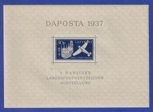Danzig Flugpost-Blockausgabe DAPOSTA 1937 Junkers W 33 Mi.-Nr. Block 2 b **