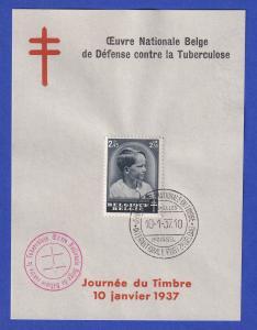 Belgien Tag der Briefmarke Mi.-Nr. 442 mit ET-O 10.1.37 auf Gedenkblatt FRANZ.