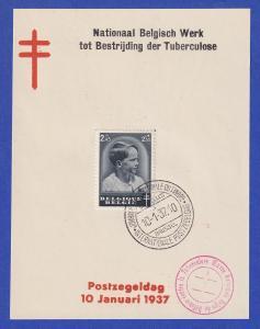Belgien Tag der Briefmarke Mi.-Nr. 442 mit ET-O 10.1.37 auf Gedenkblatt NIEDERL.
