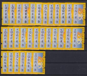ATM Deutschland Mi.-Nr. 3.2 Wertstufen 10-300 Pfg in 10er-Stufen kpl. ** 30 ATM