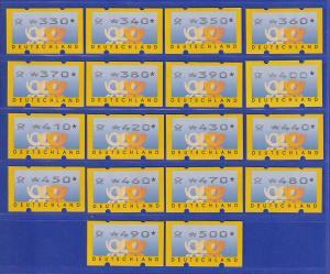 ATM Deutschland  3 Posthörner Mi.-Nr. 3.2 kpl. Serie 10-500 Pfg in 10er Sprüngen
