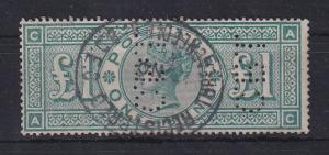 Großbritannien 1891 Victoria 1 Pfund-Wert Mi.-Nr. 99 gestempelt. ANSEHEN
