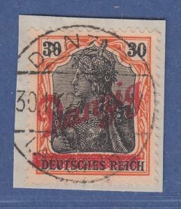 Danzig kleiner Innendienst Mi.-Nr. 37 gest. auf Briefstück, sign. BOREK