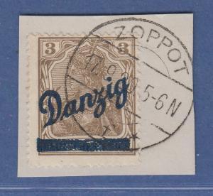 Danzig kleiner Innendienst Mi.-Nr. 34 gest. auf Briefstück, sign. u.a. Resset