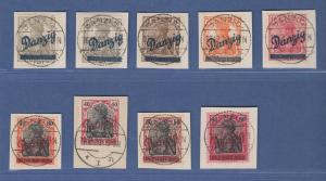 Danzig Germania Schrägaufdruck Mi.-Nr. 32-40 kpl. Satz gestempelt alle gpr. BPP