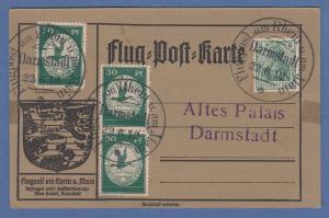Flugpost am Rhein und Main, grüne 30Pfg 3x auf Postkarte, O Darmstadt 22.6.12