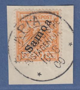 Deutsche Kolonien Samoa 25 Pfennig Mi.-Nr. 5 auf Briefstück mit O APIA