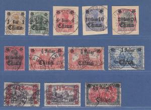 DAP China 1905 Mi.-Nr. 28-37 Satz überkomplett O, mit Mi.-Nr. 34 und 36 A und B