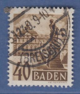 Französische Zone Baden Schlos Rastatt 40Pfg. Mi.-Nr. 35 O gepr. Schlegel