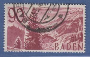 Französische Zone Baden Höllental Schwarzwald 90Pfg. Mi.-Nr. 37 O gepr. Schlegel