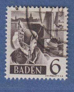Französische Zone Baden Trachtenmädchen 6Pfg. Mi.-Nr. 31 O gepr. Schlegel