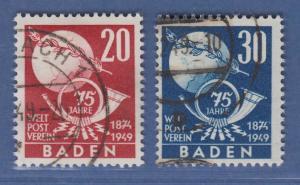 Französische Zone Baden UPU Weltpostverein Mi.-Nr. 56-57 O gepr. Schlegel