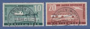 Franz. Zone Württemberg 100 Jahre dt. Briefmarken Mi.-Nr. 49-50 kpl. O gepr. BPP