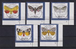 Bund 1992 Nachtfalter Mi.-Nr. 1602-06 Ecken mit Formnummer, O BENEDIKTBEUREN