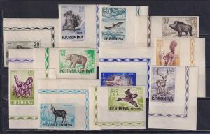Rumänien 1956 Jagdbare Tiere  Mi.-Nr. 1565-1576 UNGEZÄHNT kpl. ** Eckrand