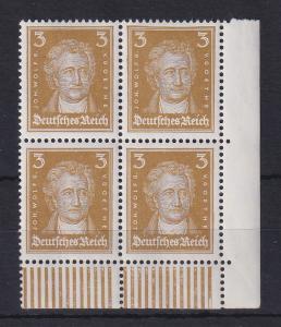 Deutsches Reich 1927 Goethe 3Pfg. Mi.-Nr. 386 Eckrand-Viererblock **