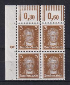 Deutsches Reich 1927 Goethe 3Pfg. Mi.-Nr. 385 Eckrand-Viererblock **