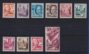 Französische Zone Württemberg Freimarken 3. Ausgabe Mi-Nr. 28-37 kpl 10 Werte **