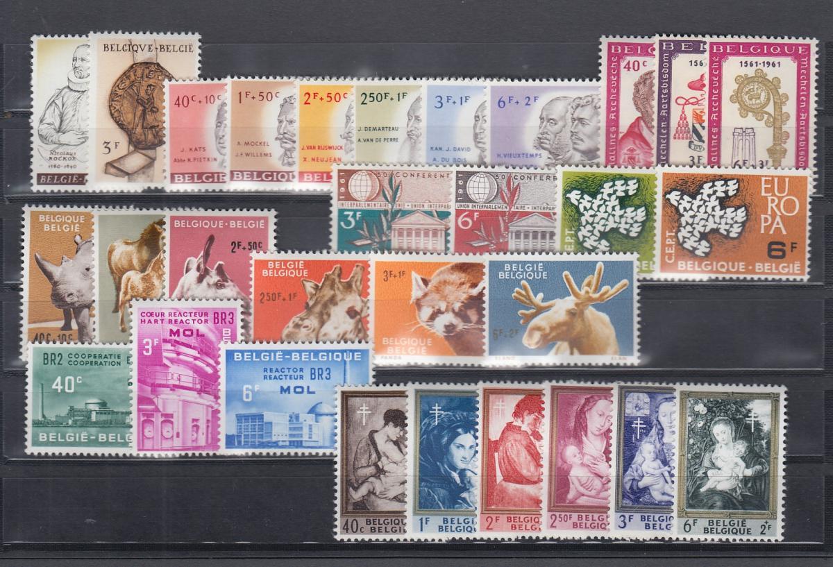 Belgien 1961 Briefmarken-Jahrgang komplett **  0