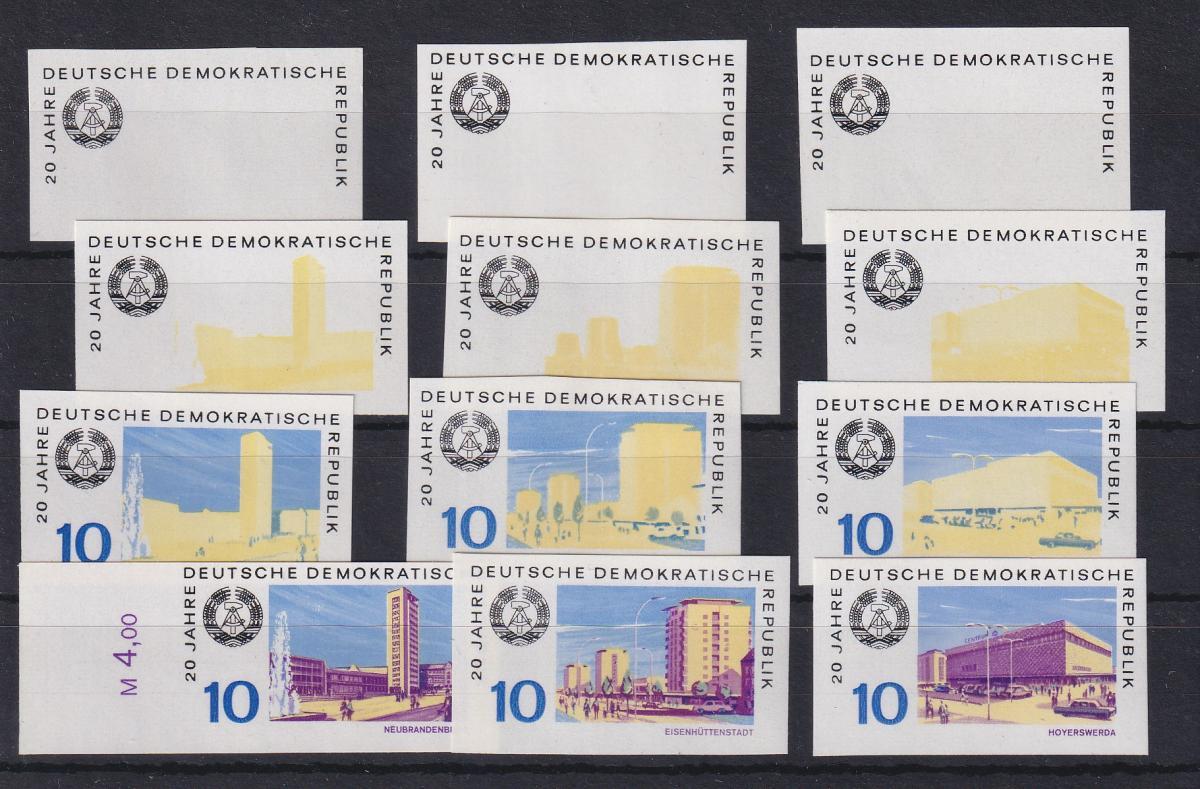 DDR 1969 Phasendrucke 20 Jahre DDR Mi.-Nr. 1496, 1498, 1499 jew. 4 Phasen kpl.  0