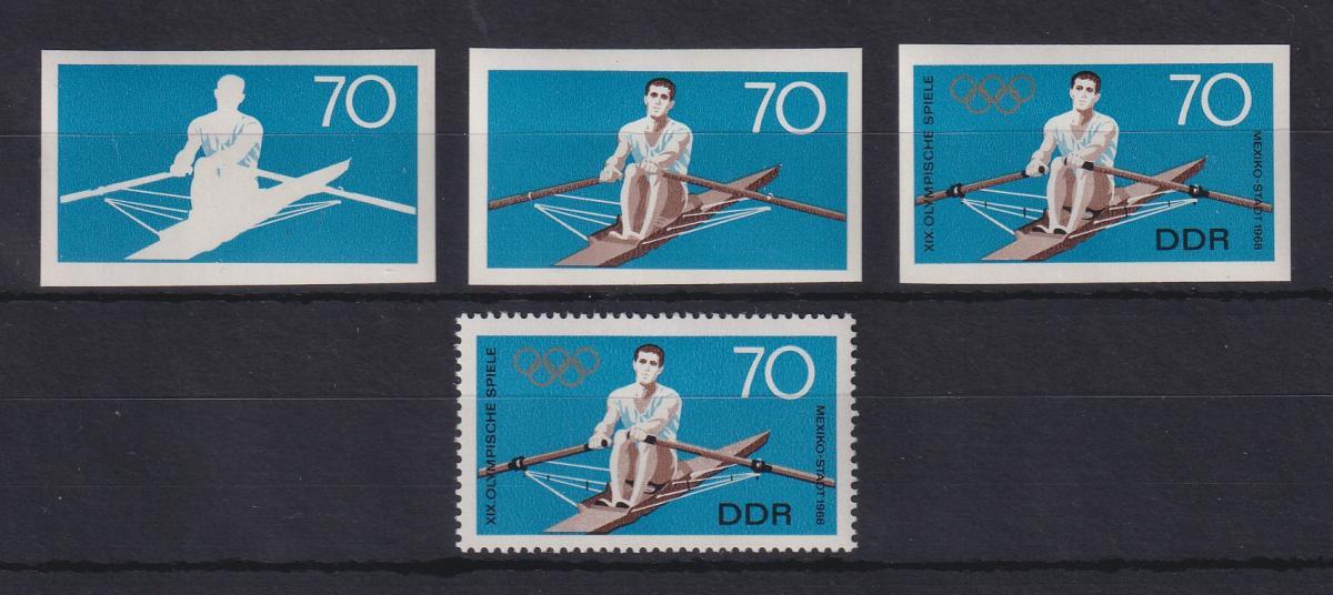 DDR 1968 kpl. Serie Phasendrucke Mi.-Nr. 1409 Olympische Spiele Rudern **  0