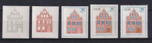 DDR 1969 kpl. Serie Phasendrucke Mi.-Nr. 1437 Bürgerhaus Luckau **