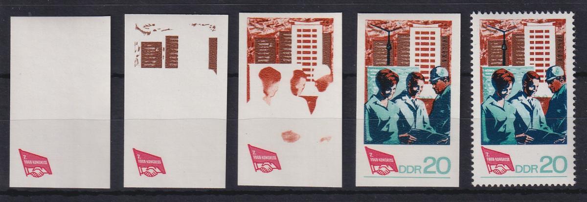 DDR 1968 kpl. Serie Phasendrucke Mi.-Nr. 1384  FDGB-Kongress Berlin **  0