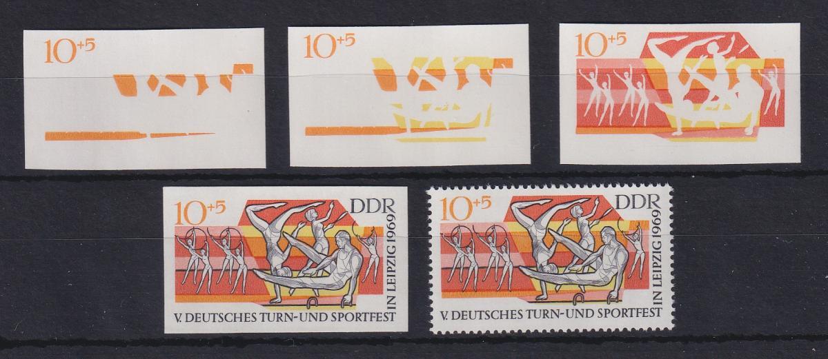 DDR 1969 kpl. Serie Phasendrucke Mi.-Nr. 1484  Turn- und Sportfest Leipzig **  0