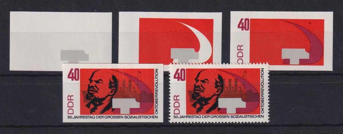 DDR 1967 kpl. Serie Phasendrucke Mi.-Nr. 1316  Oktoberrevolution 40Pfg **  0